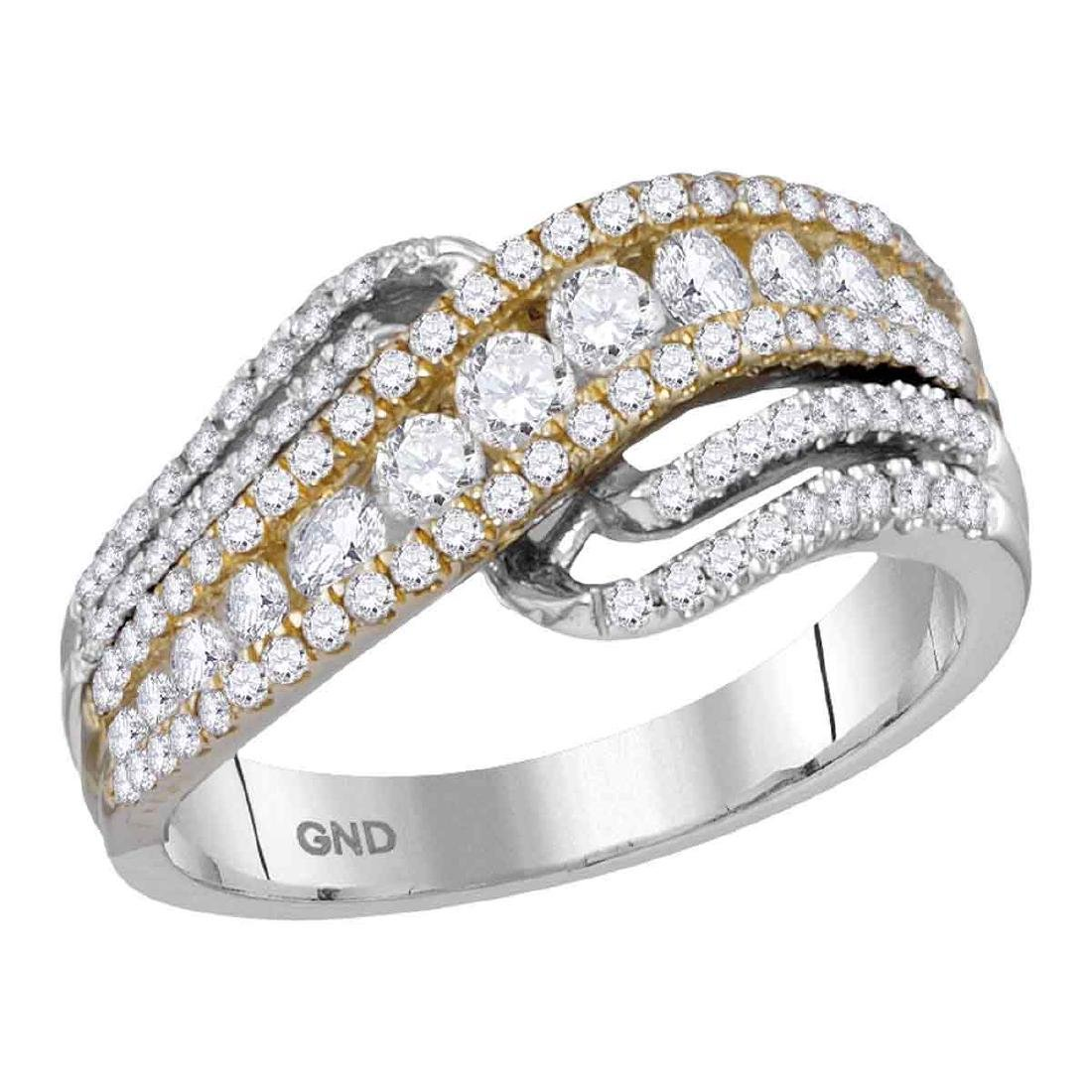 0.98 CTW Diamond Crossover Ring 14KT Two-tone Gold -
