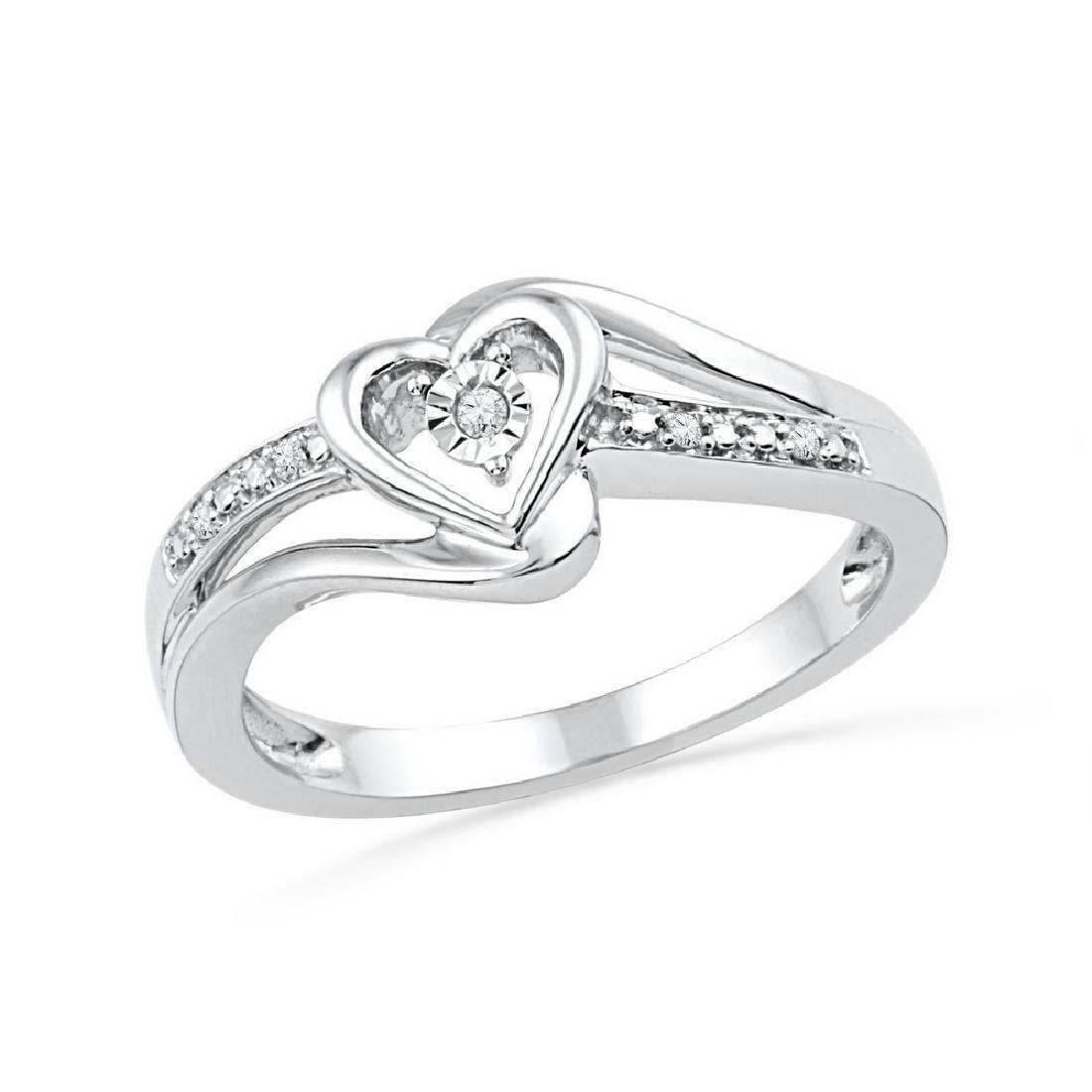 0.03 CTW Diamond Heart Love Promise Bridal Ring 10KT