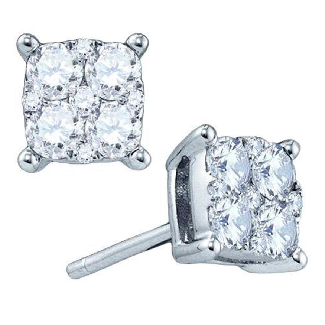 1.55 CTW Diamond Square Cluster Screwback Earrings 18KT