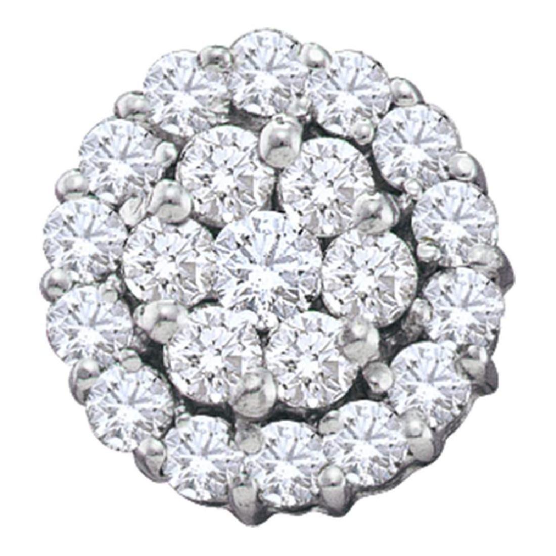1.5 CTW Diamond Circle Flower Cluster Earrings 14KT