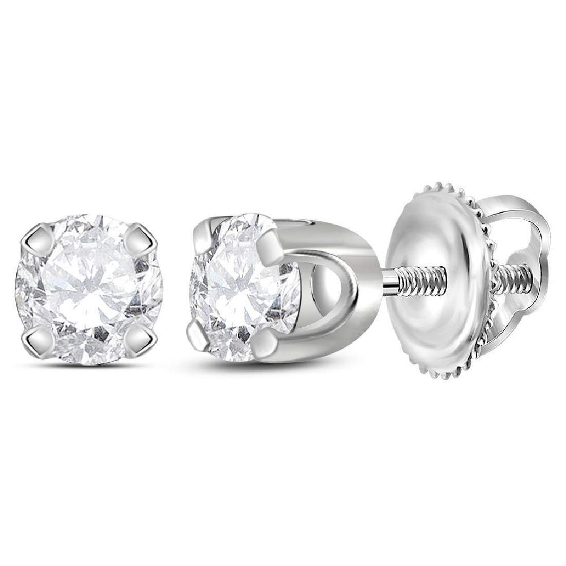 0.26 CTW Diamond Solitaire Stud Earrings 14KT White