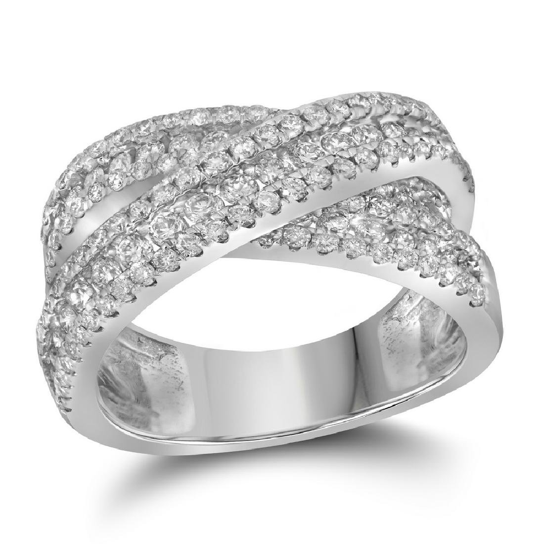 1.93 CTW Pave-set Diamond Crossover Cocktail Ring 14KT
