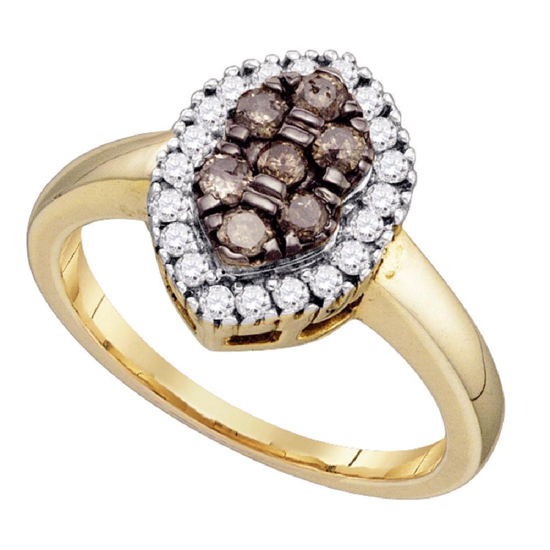 0.50 CTW Cognac-brown Color Cluster Oval-shape Diamond