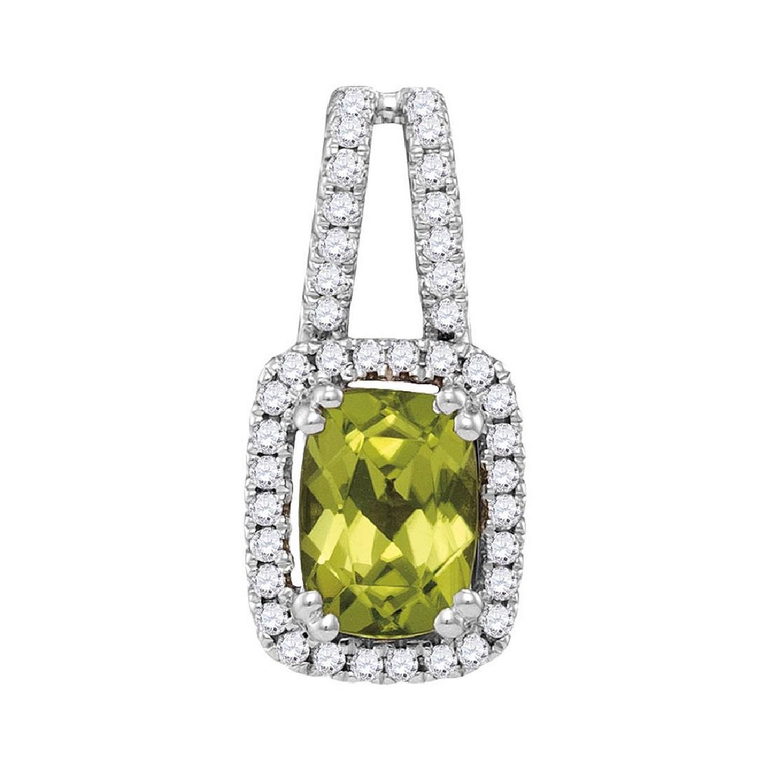 1.18 CTW Cushion Peridot Solitaire Diamond Pendant 14KT