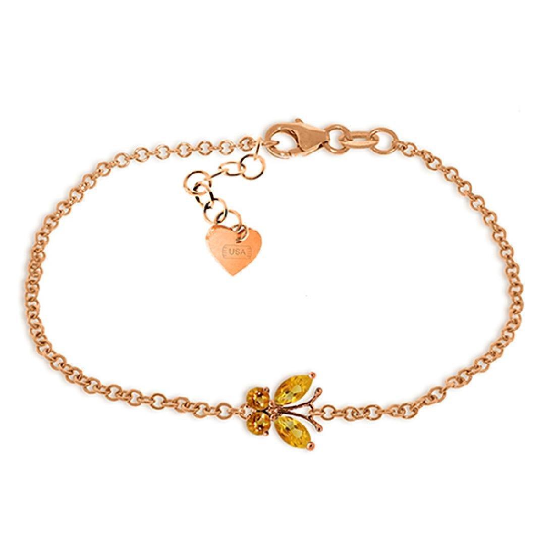Genuine 0.60 ctw Citrine Bracelet Jewelry 14KT Rose