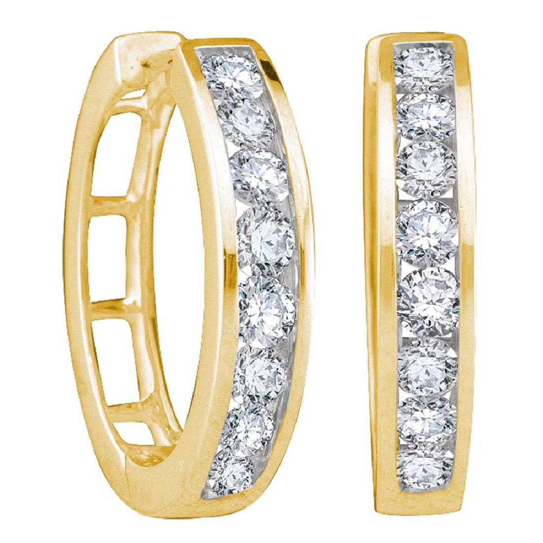 1 CTW Diamond Hoop Earrings 14KT Yellow Gold -