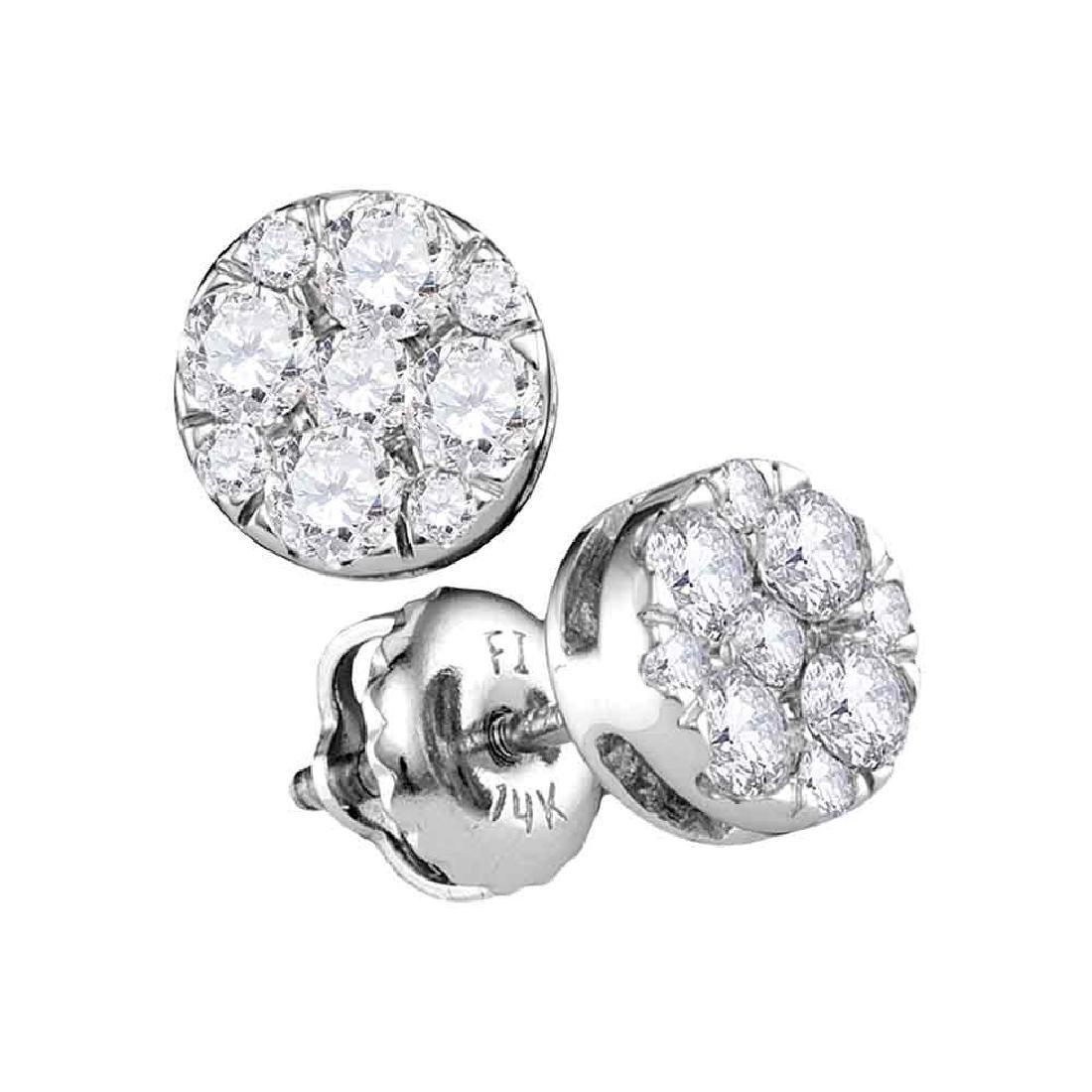 0.50 CTW Diamond Flower Stud Earrings 14KT White Gold -