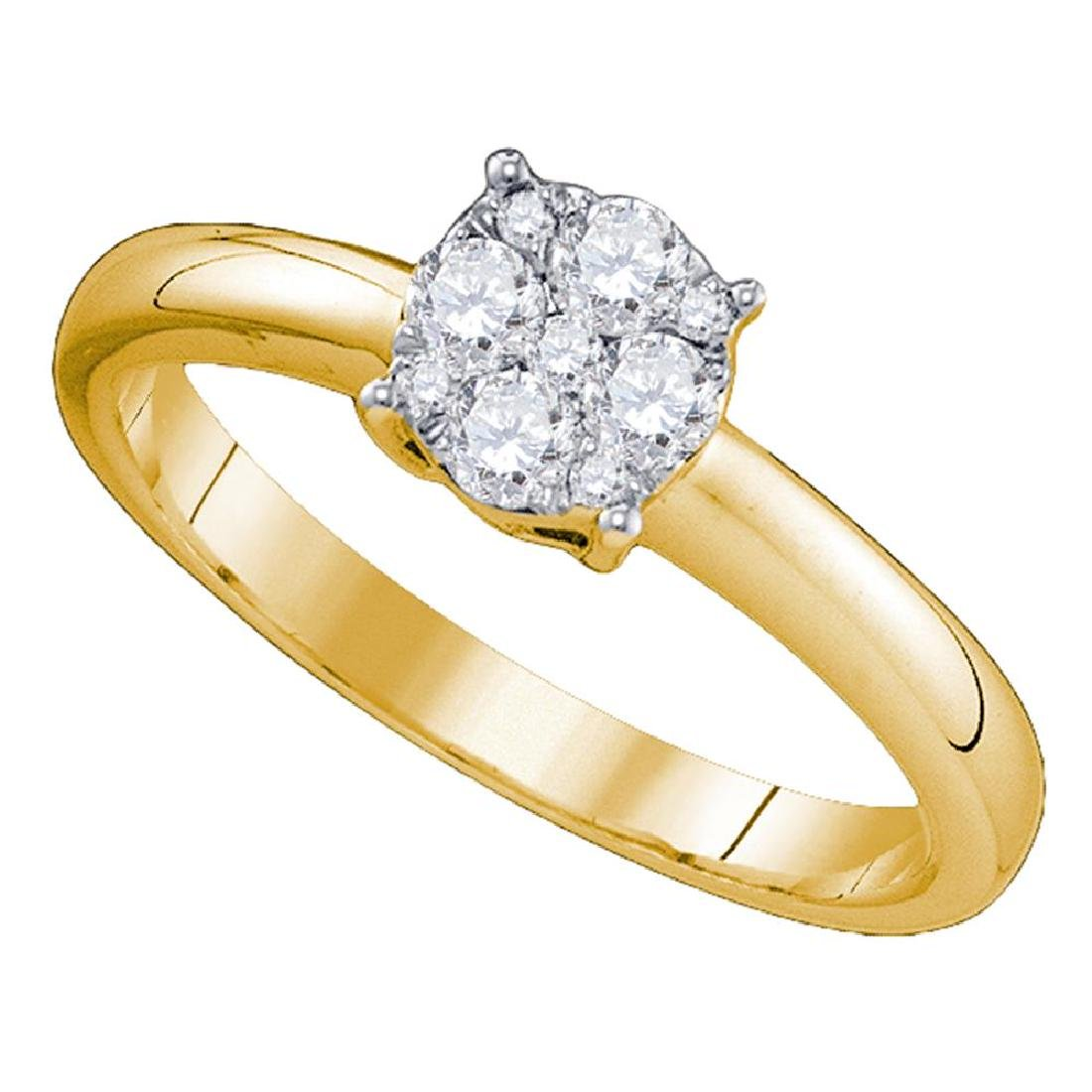 0.96 CTW Diamond Cluster Bridal Engagement Ring 18KT