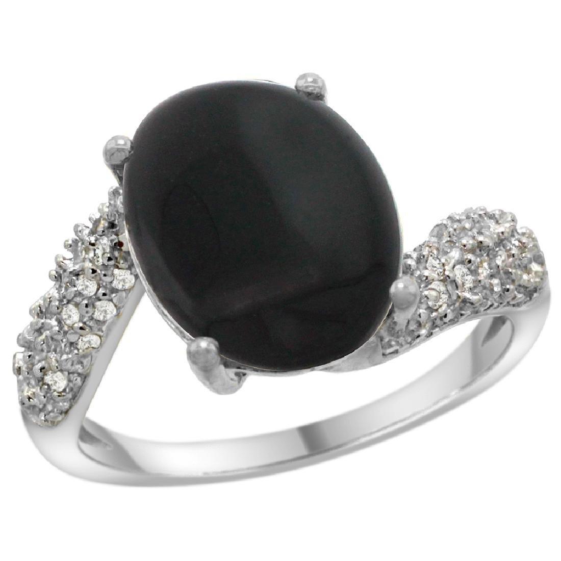 Natural 2.46 ctw onyx & Diamond Engagement Ring 14K