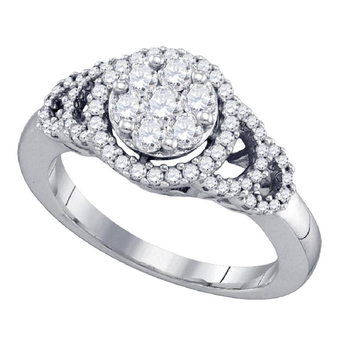 0.71 CTW Diamond Cluster Ring 10KT White Gold -