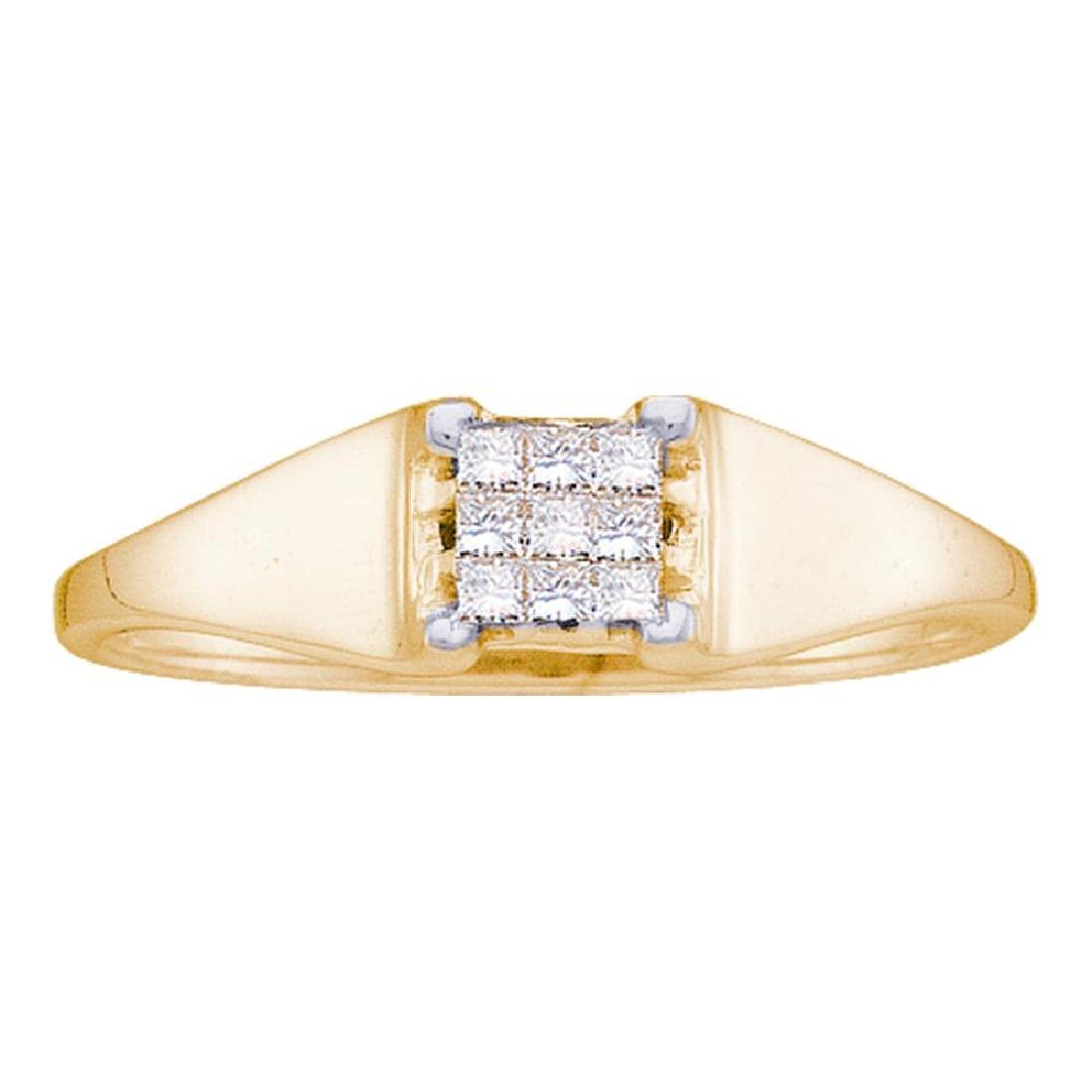 0.12 CTW Princess Diamond Square Cluster Ring 14KT