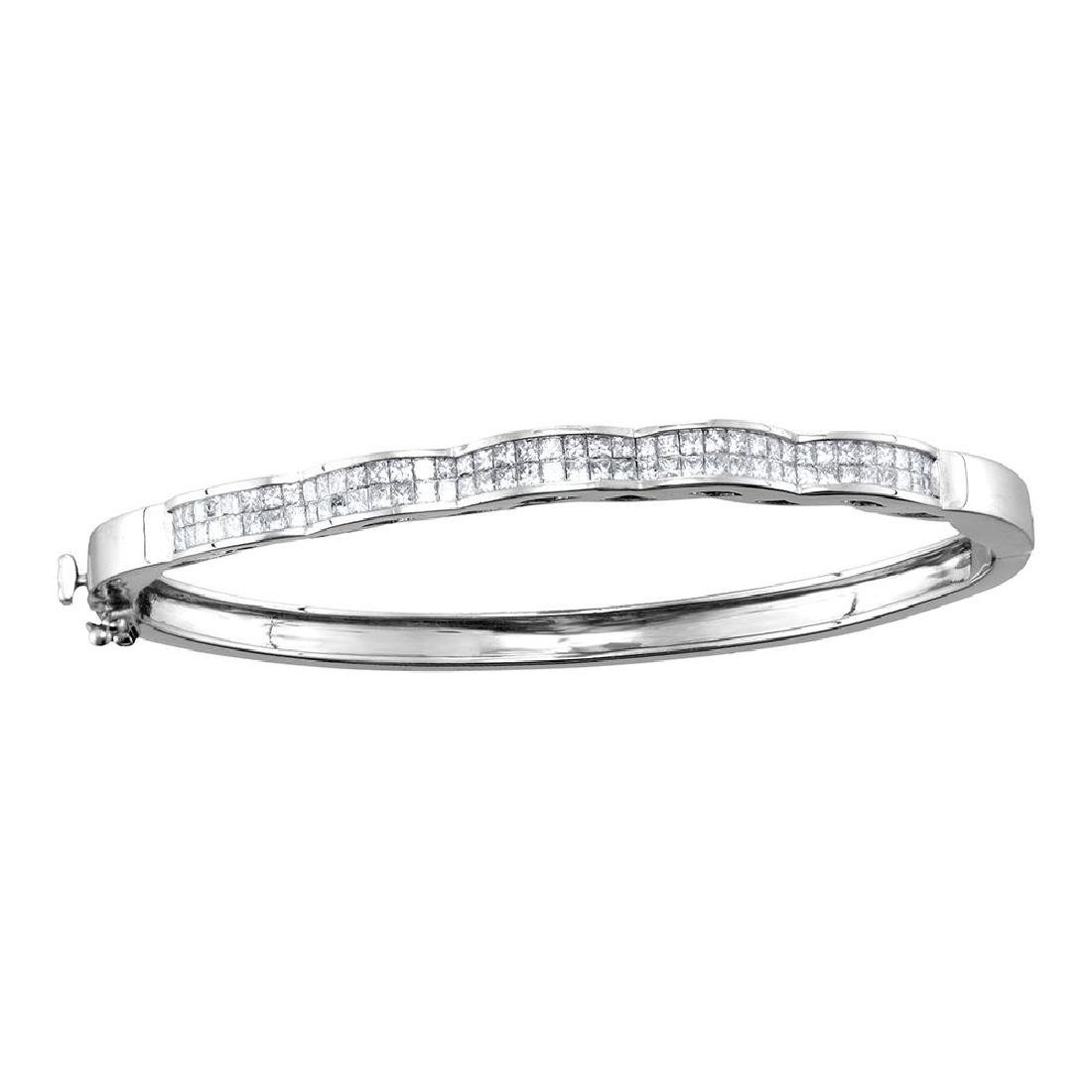 2 CTW Princess Diamond Double Row Wave Bangle Bracelet