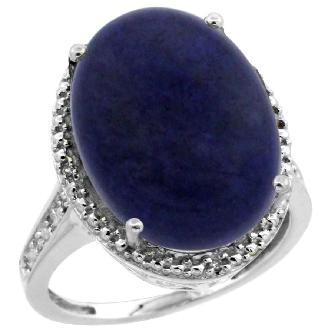 Natural 9.49 ctw Lapis & Diamond Engagement Ring 14K