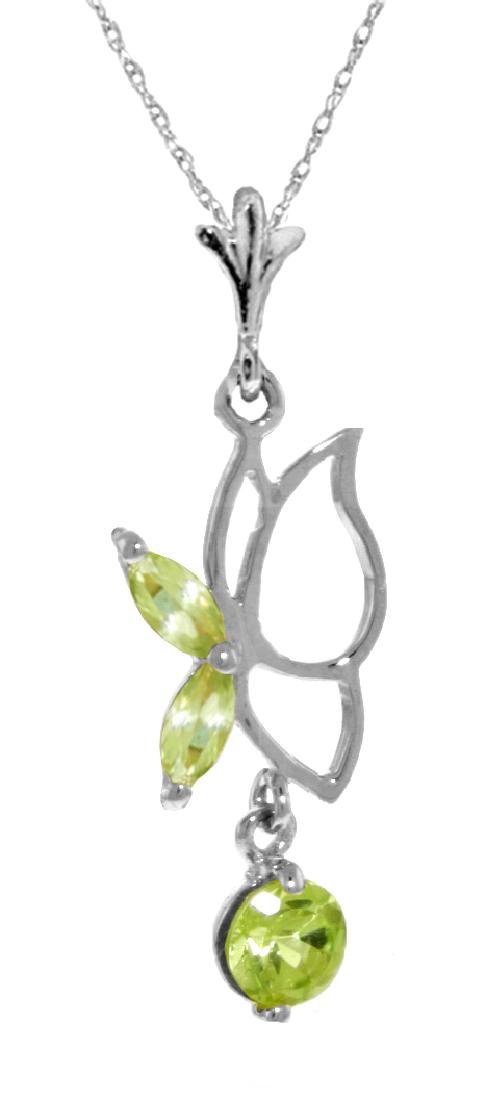 Genuine 0.40 ctw Peridot Necklace Jewelry 14KT White