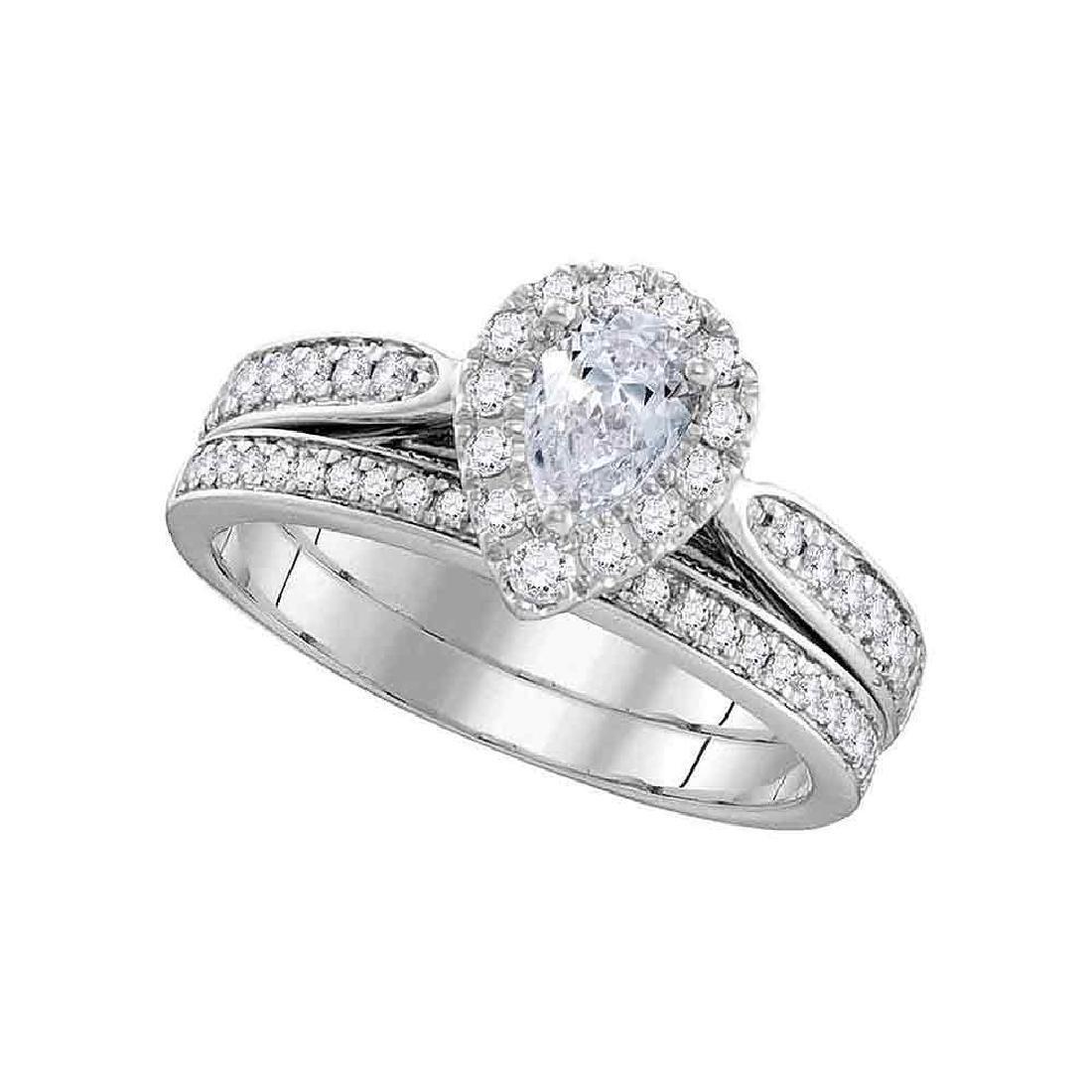 1 CTW Pear Diamond Bridal Wedding Engagement Ring 14KT