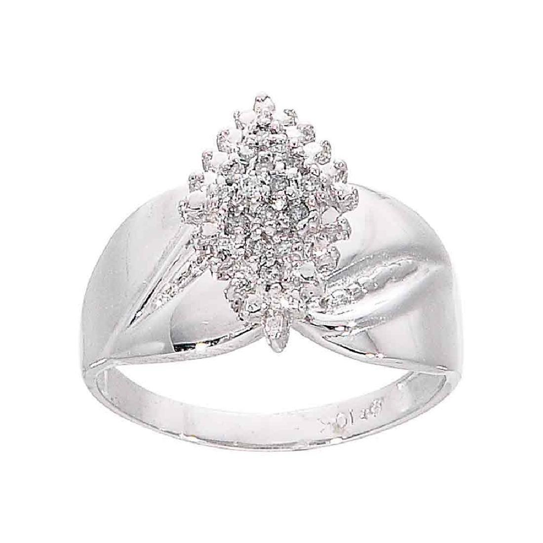 0.12 CTW Diamond Cluster Ring 10KT White Gold -