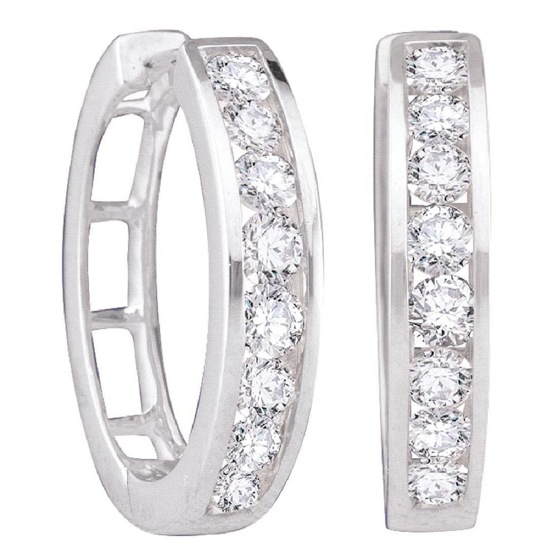 1 CTW Diamond Hoop Earrings 14KT White Gold - REF-89F9N