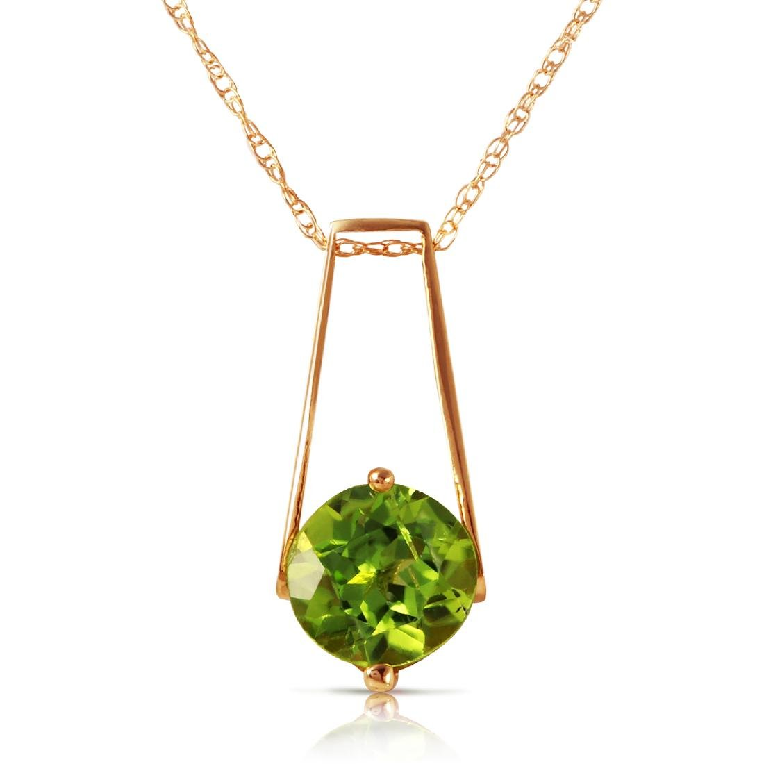 Genuine 1.45 ctw Peridot Necklace Jewelry 14KT Rose