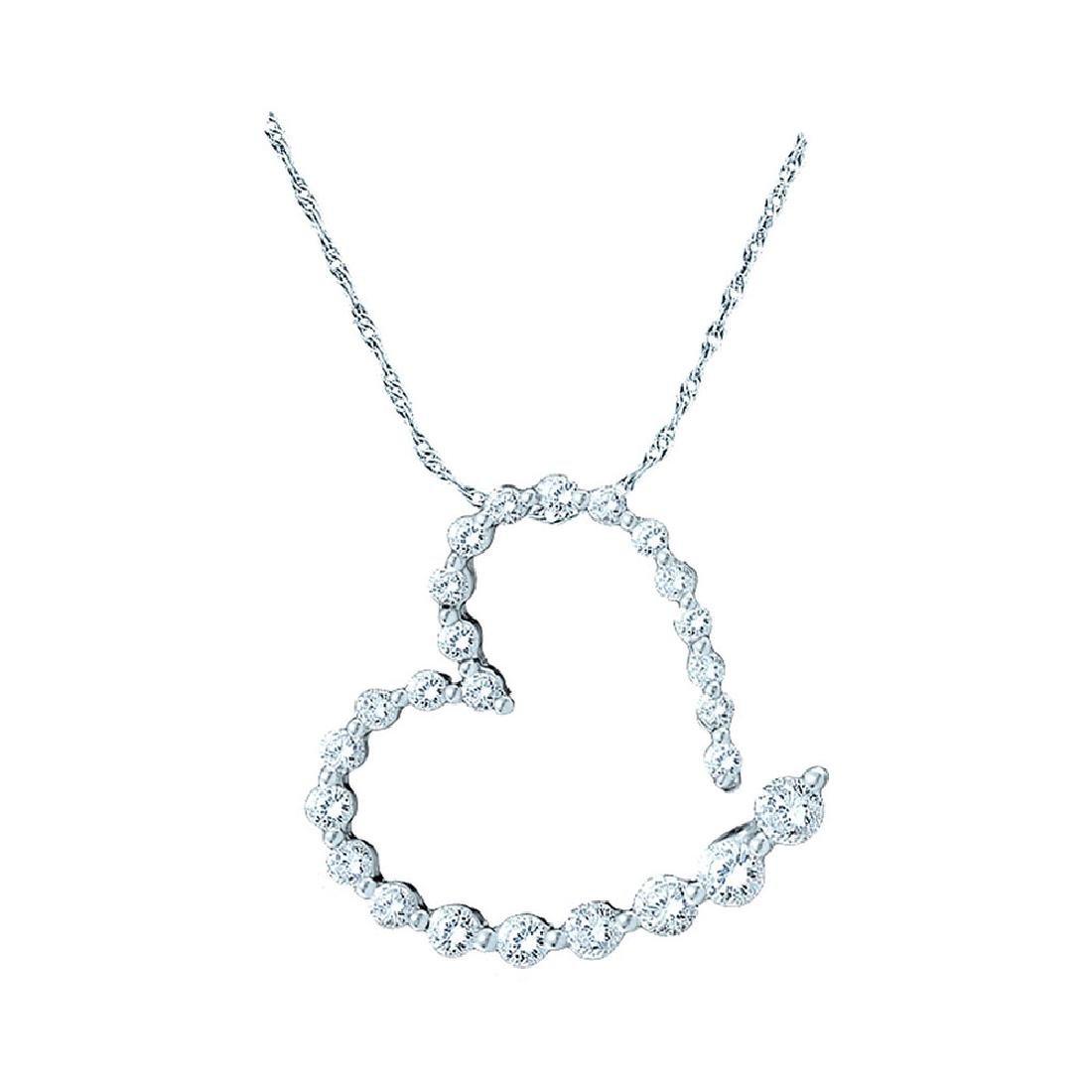 1 CTW Diamond Graduated Heart Journey Pendant 14KT