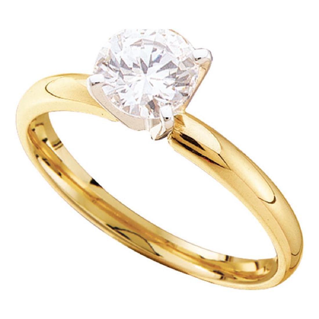 1 CTW Diamond Solitaire Bridal Engagement Ring 14KT