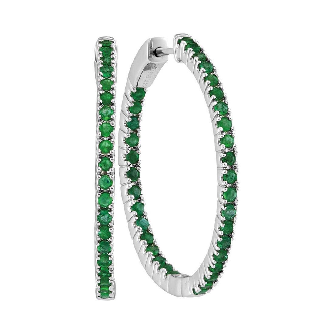 2 CTW Emerald Hoop Earrings 14KT White Gold - REF-97M4H