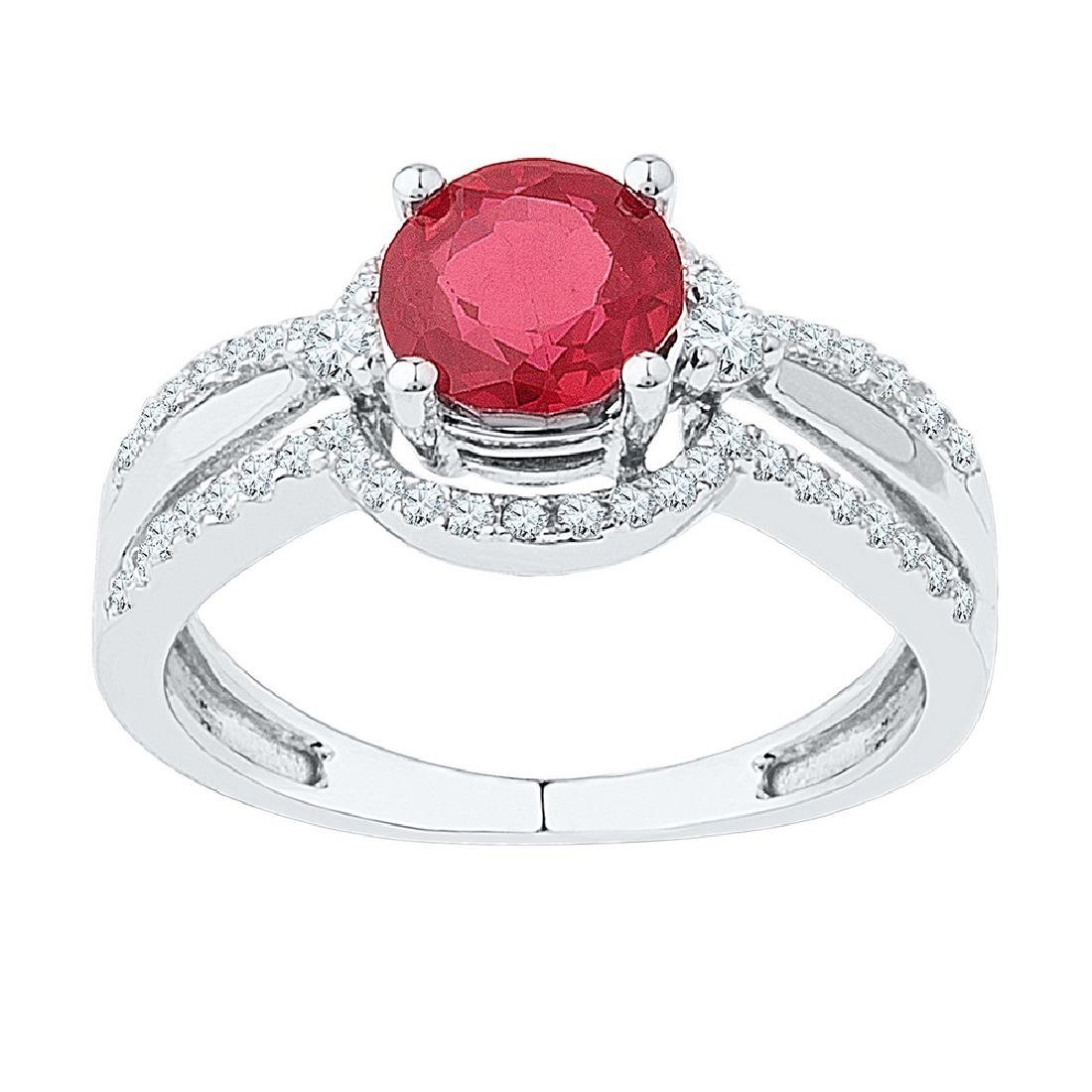 2.08 CTW Created Ruby Solitaire Ring 10KT White Gold -