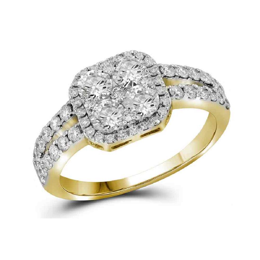 1.25 CTW Diamond Square-shape Cluster Split-shank Ring