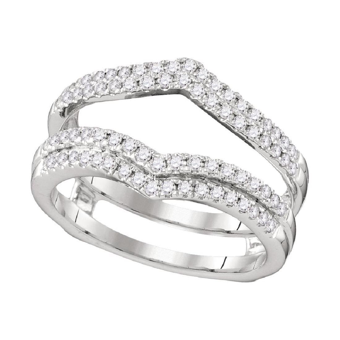 0.51 CTW Diamond Chevron Wrap Ring 14KT White Gold -