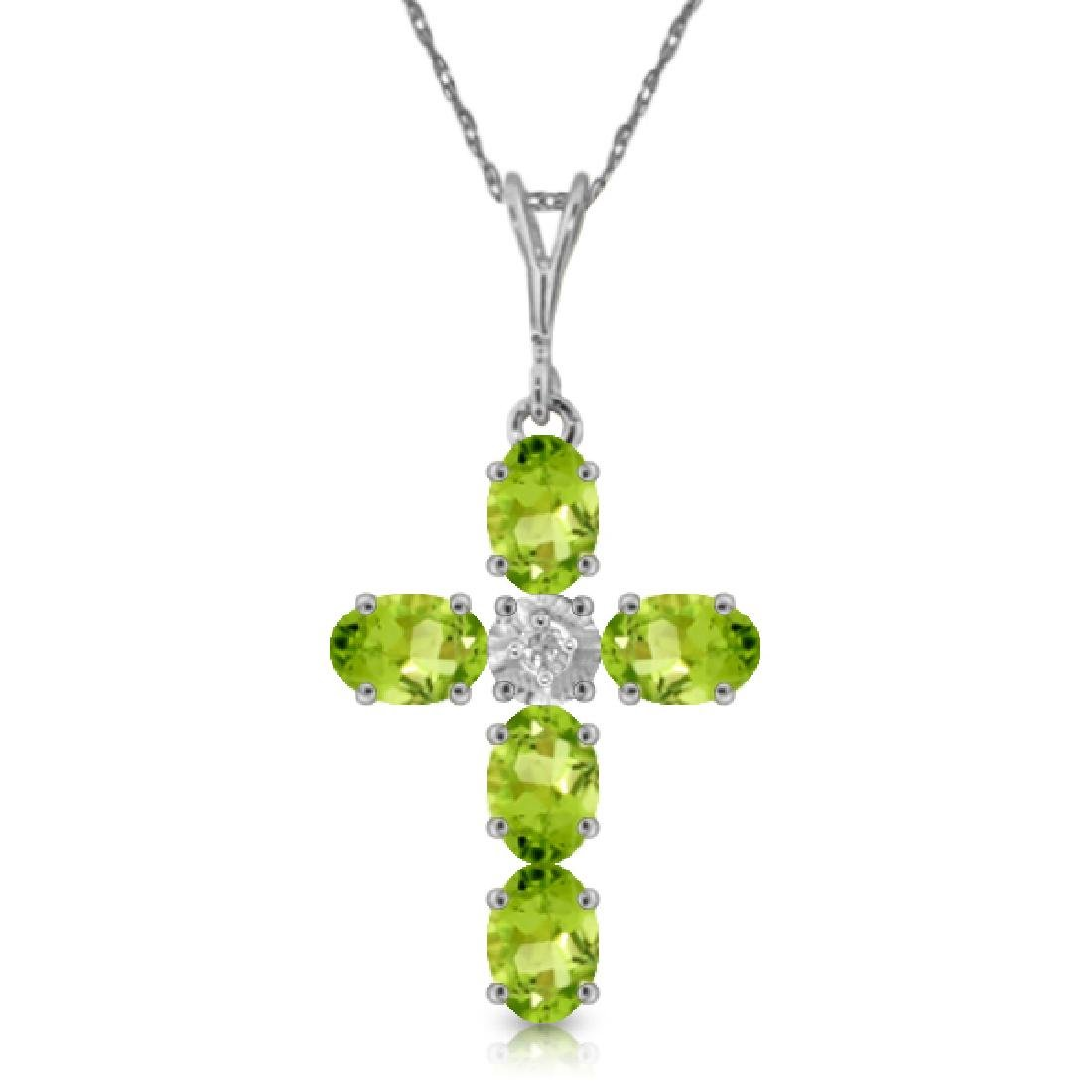 Genuine 1.88 ctw Peridot & Diamond Necklace Jewelry