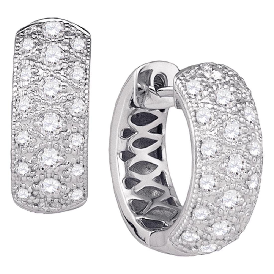 0.85 CTW Diamond Huggie Earrings 14KT White Gold -