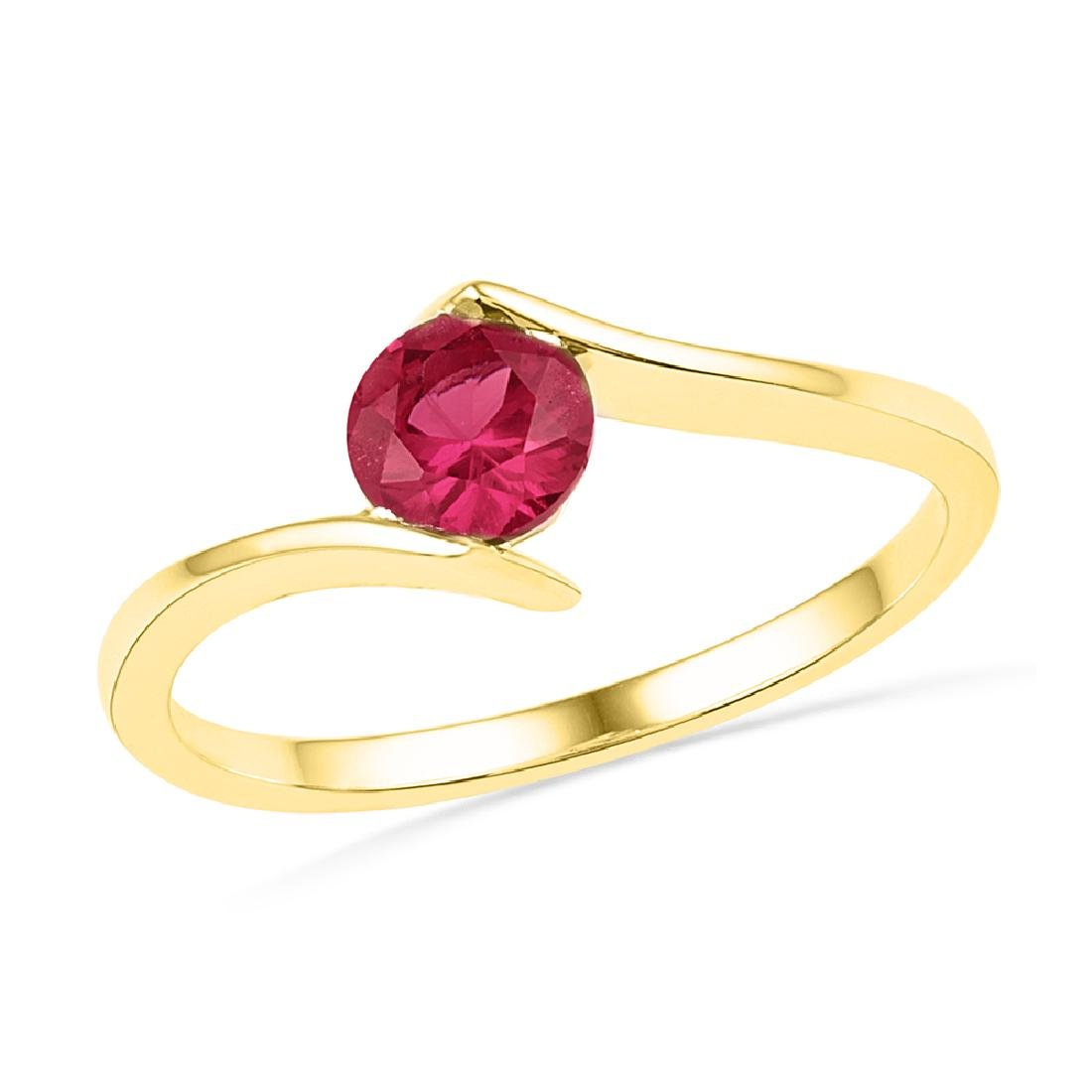 0.75 CTW Created Ruby Solitaire Ring 10KT Yellow Gold -