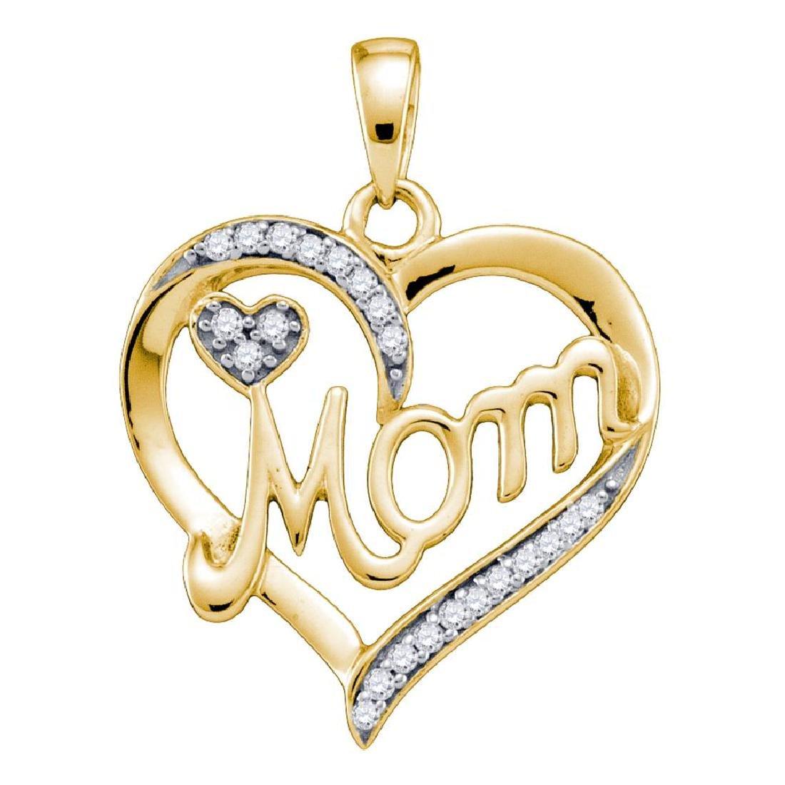 0.10 CTW Diamond Mom Mother Heart Pendant 10KT Yellow