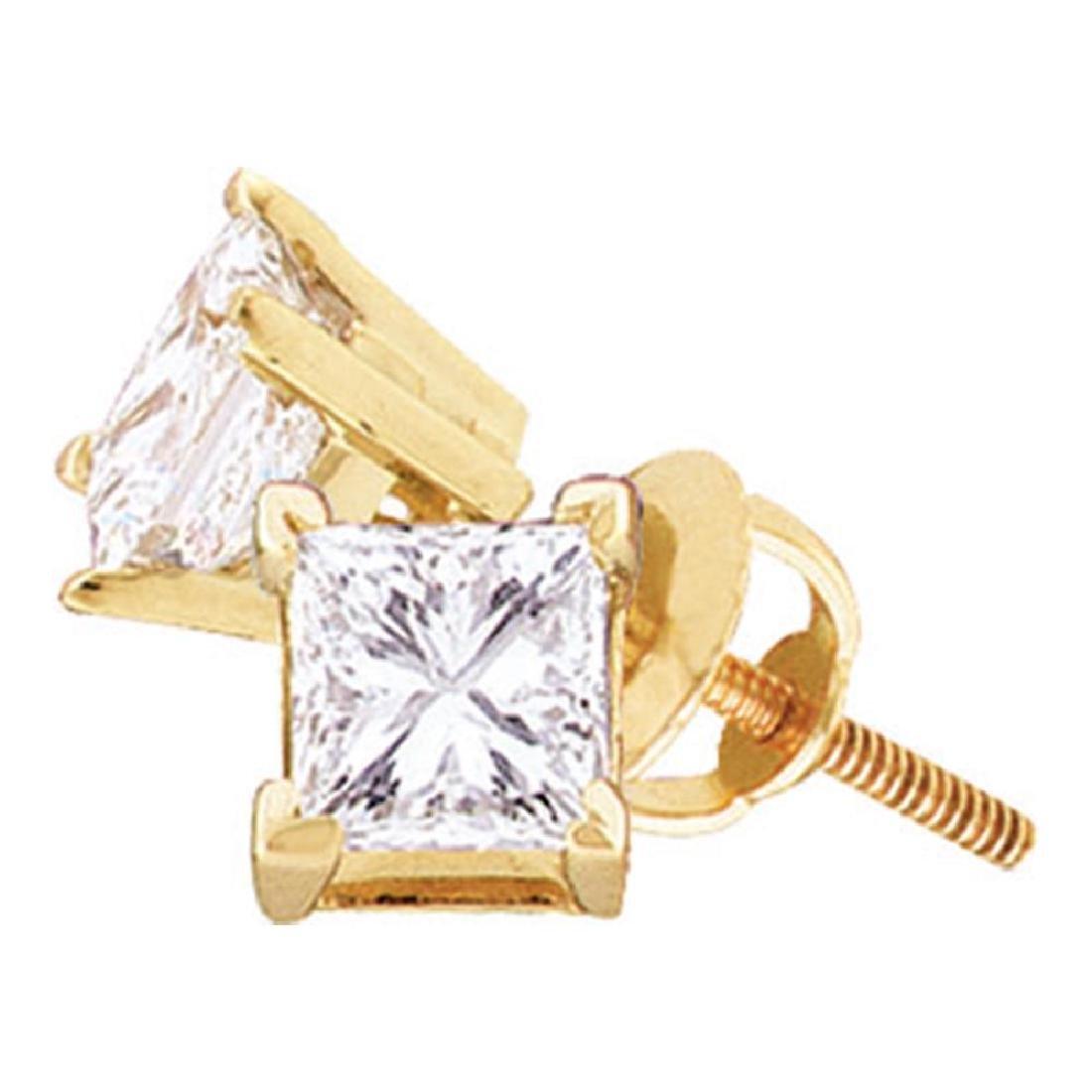 1.53 CTW Princess Diamond Solitaire Stud Earrings 14KT