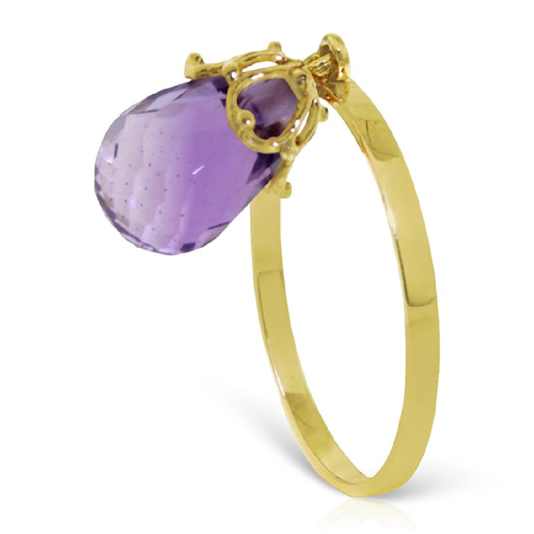 Genuine 3 ctw Amethyst Ring Jewelry 14KT Yellow Gold -