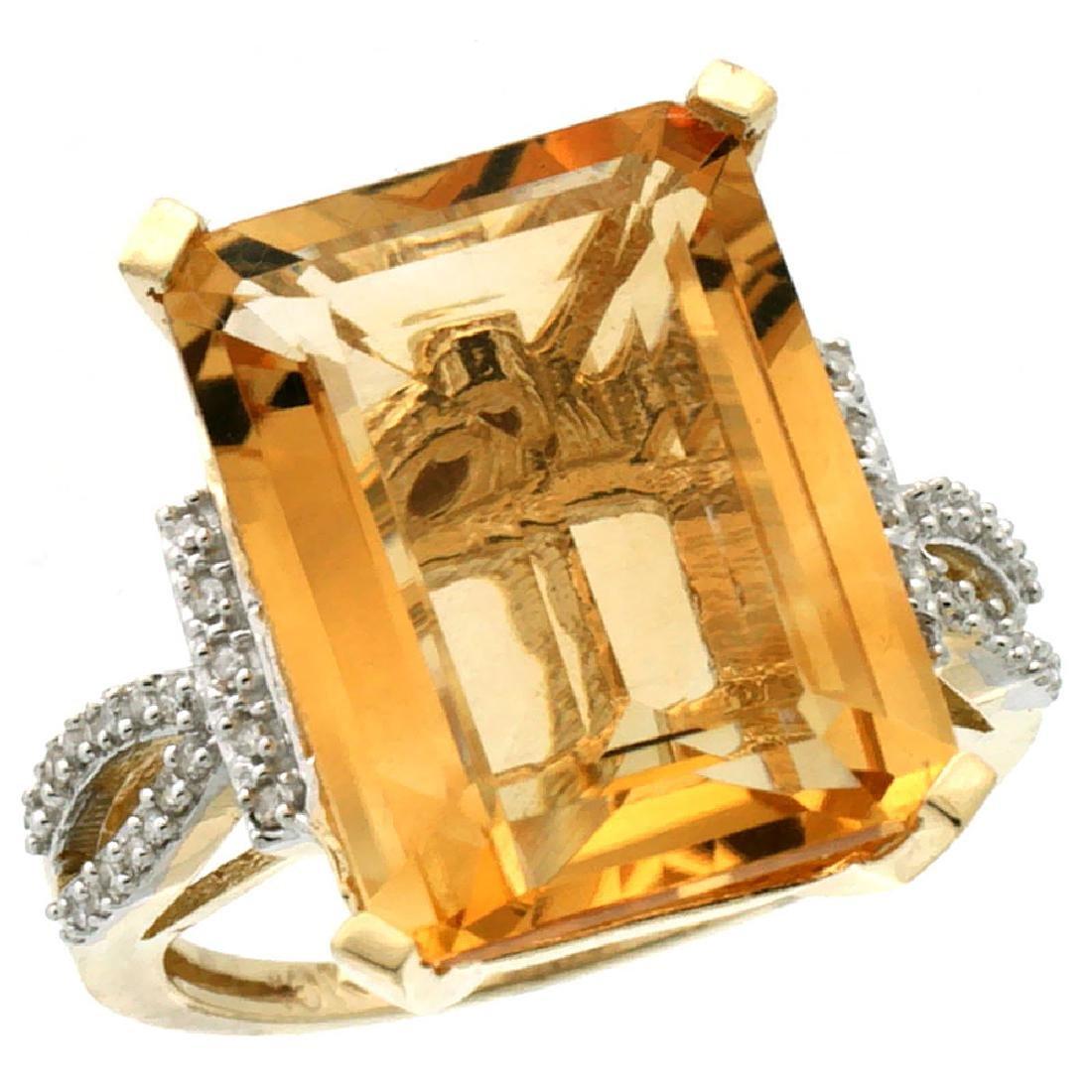 Natural 12.14 ctw Citrine & Diamond Engagement Ring 14K