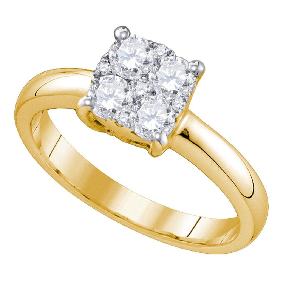 0.85 CTW Diamond Cluster Bridal Engagement Ring 18KT