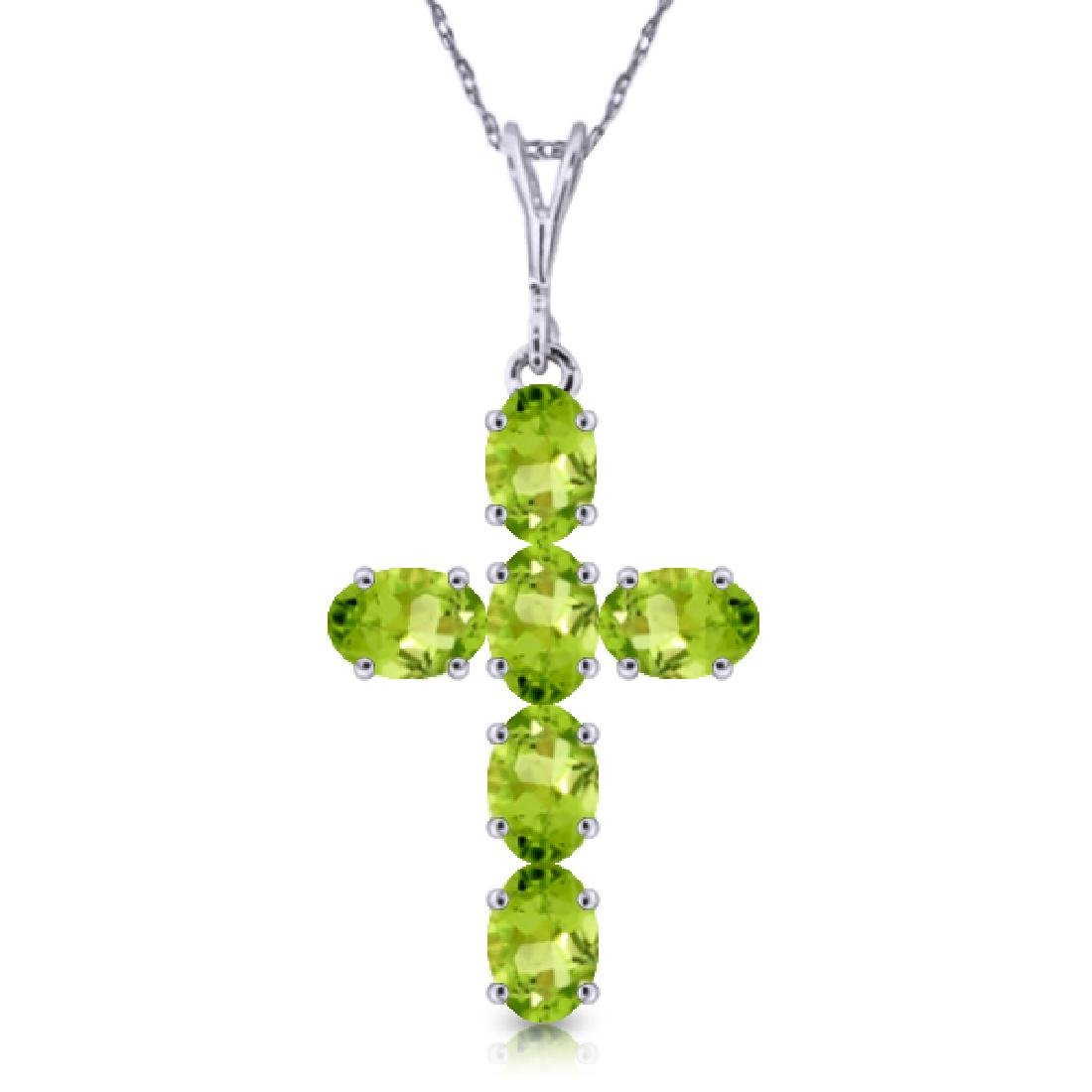 Genuine 1.50 ctw Peridot Necklace Jewelry 14KT White