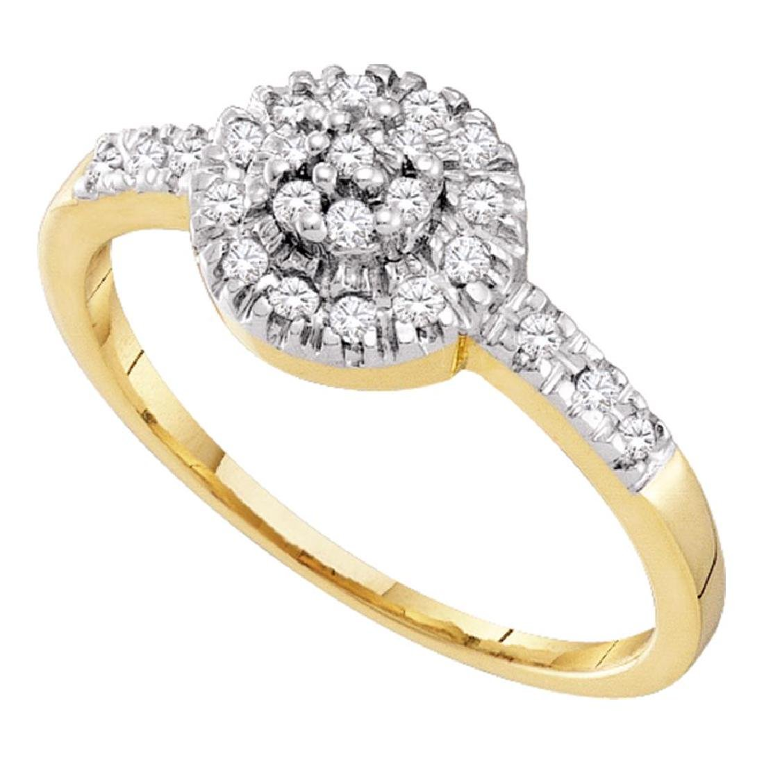 0.20 CTW Diamond Cluster Ring 10KT Yellow Gold -