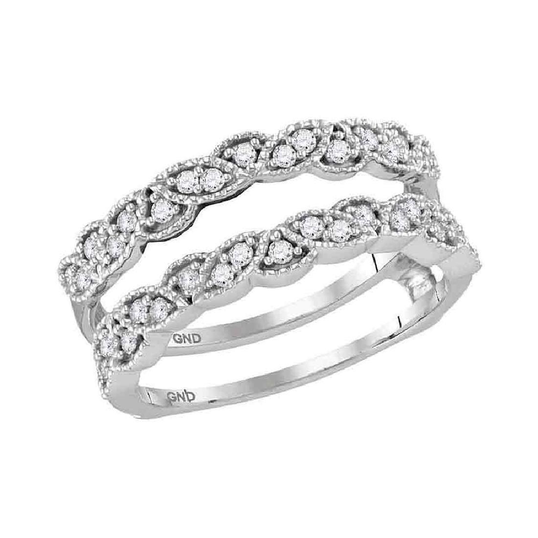 0.33 CTW Diamond Milgrain Wrap Ring 14KT White Gold -