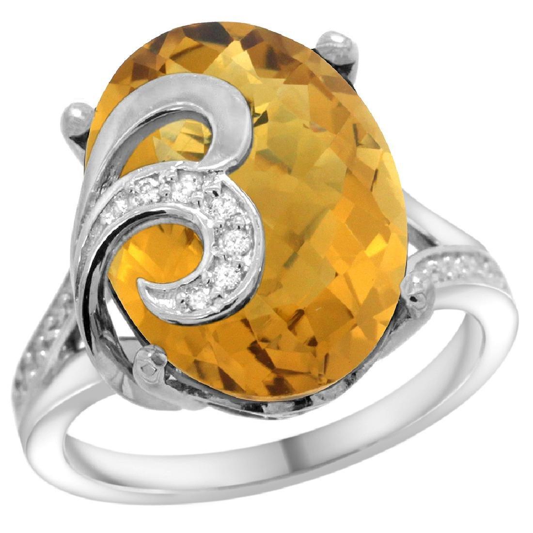 Natural 11.18 ctw quartz & Diamond Engagement Ring 14K