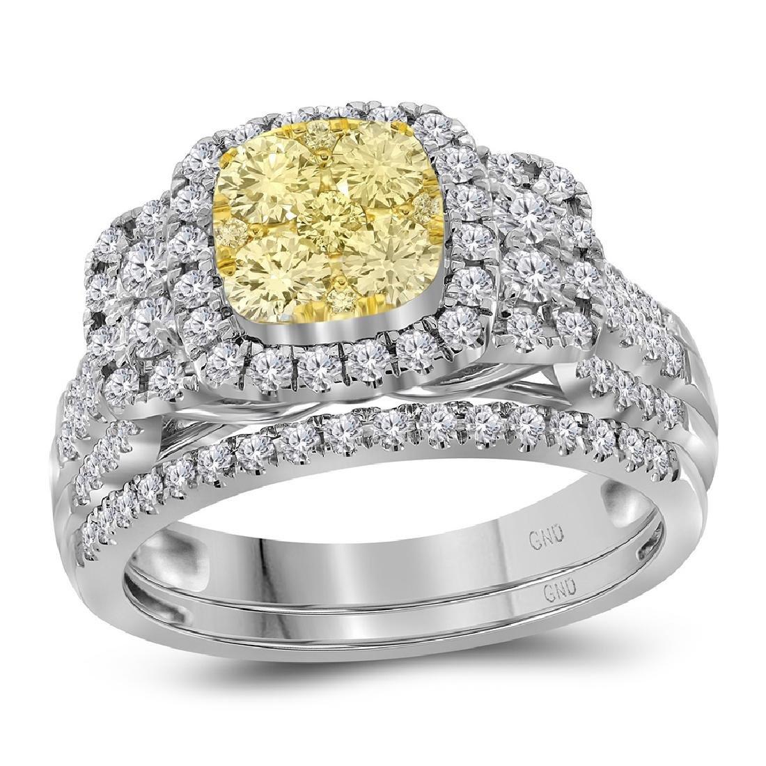 1 CTW Yellow Diamond Bridal Halo Engagement Ring 14KT