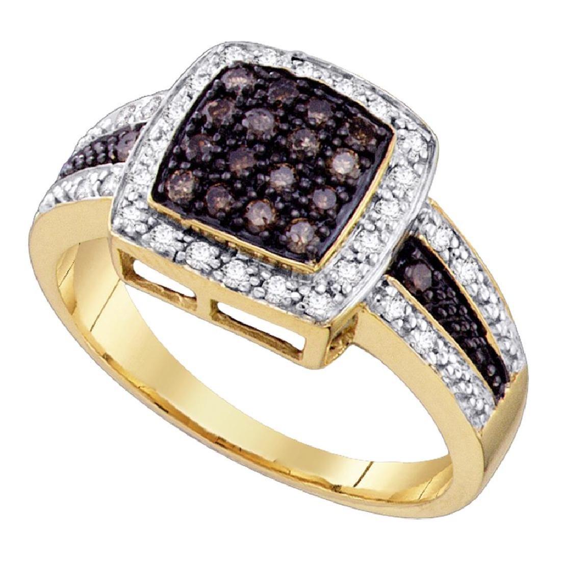 0.50 CTW Cognac-brown Color Diamond Square-shape
