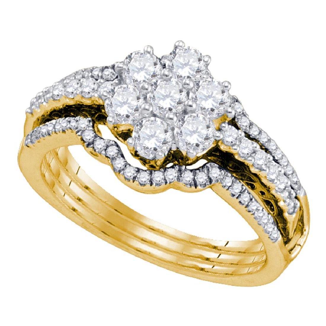 1 CTW Diamond Cluster Bridal Engagement Ring 14KT