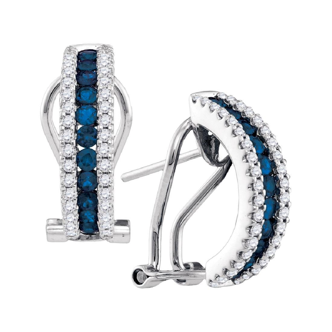 0.57 CTW Blue Sapphire Vertical Diamond Hoop Earrings