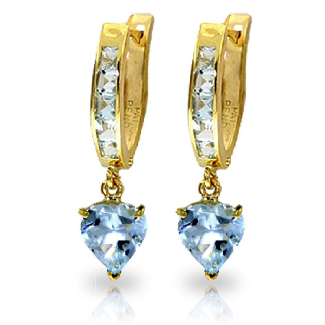 Genuine 4.1 ctw Aquamarine Earrings Jewelry 14KT Yellow