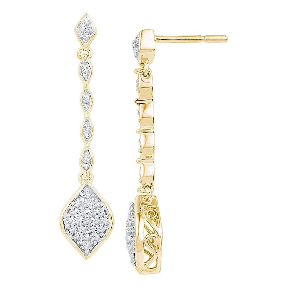0.25 CTW Diamond Cluster Dangle Drop Earrings 10KT