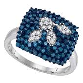 1 CTW Blue Color Diamond Square Cluster Ring 10KT White