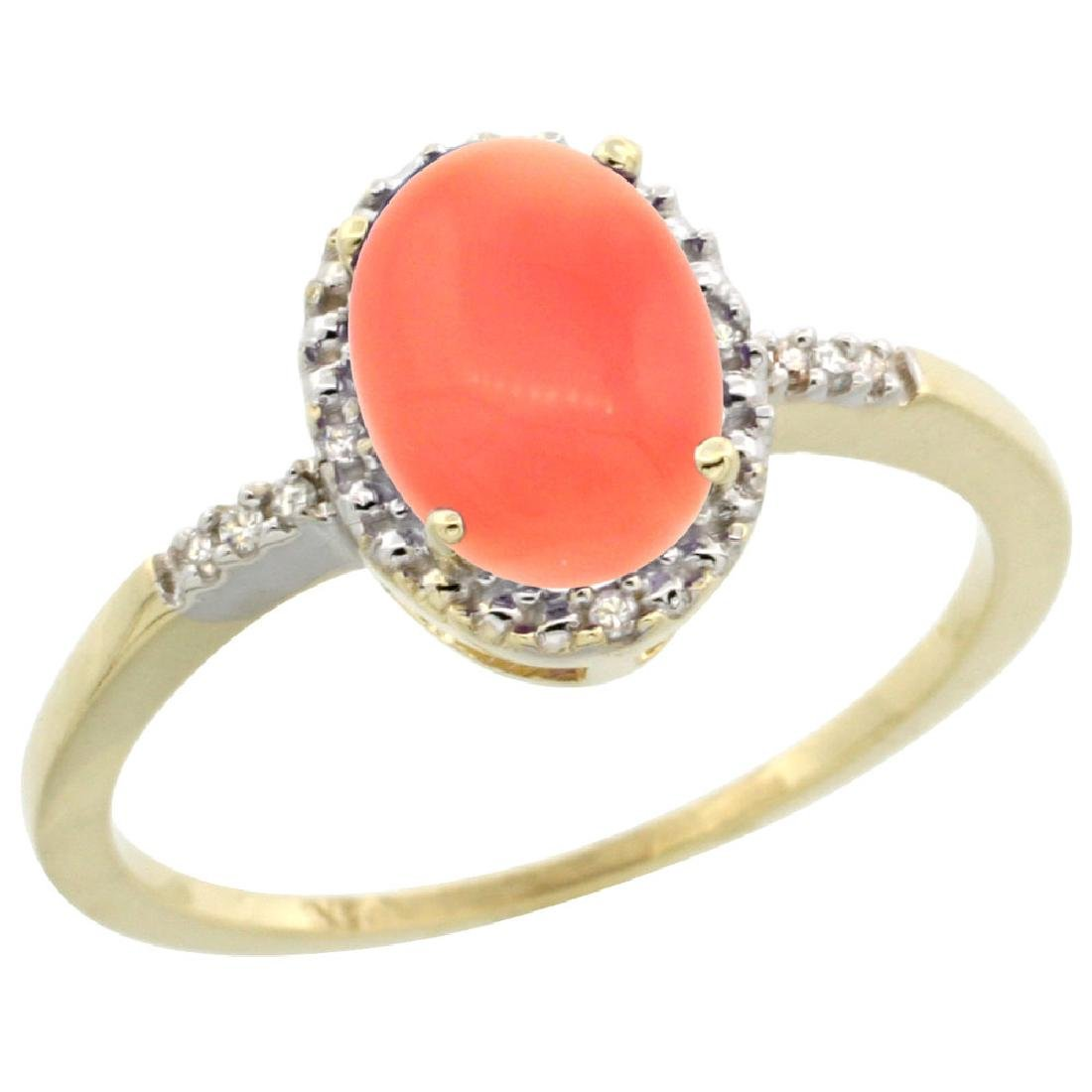 Natural 1.15 ctw Coral & Diamond Engagement Ring 14K