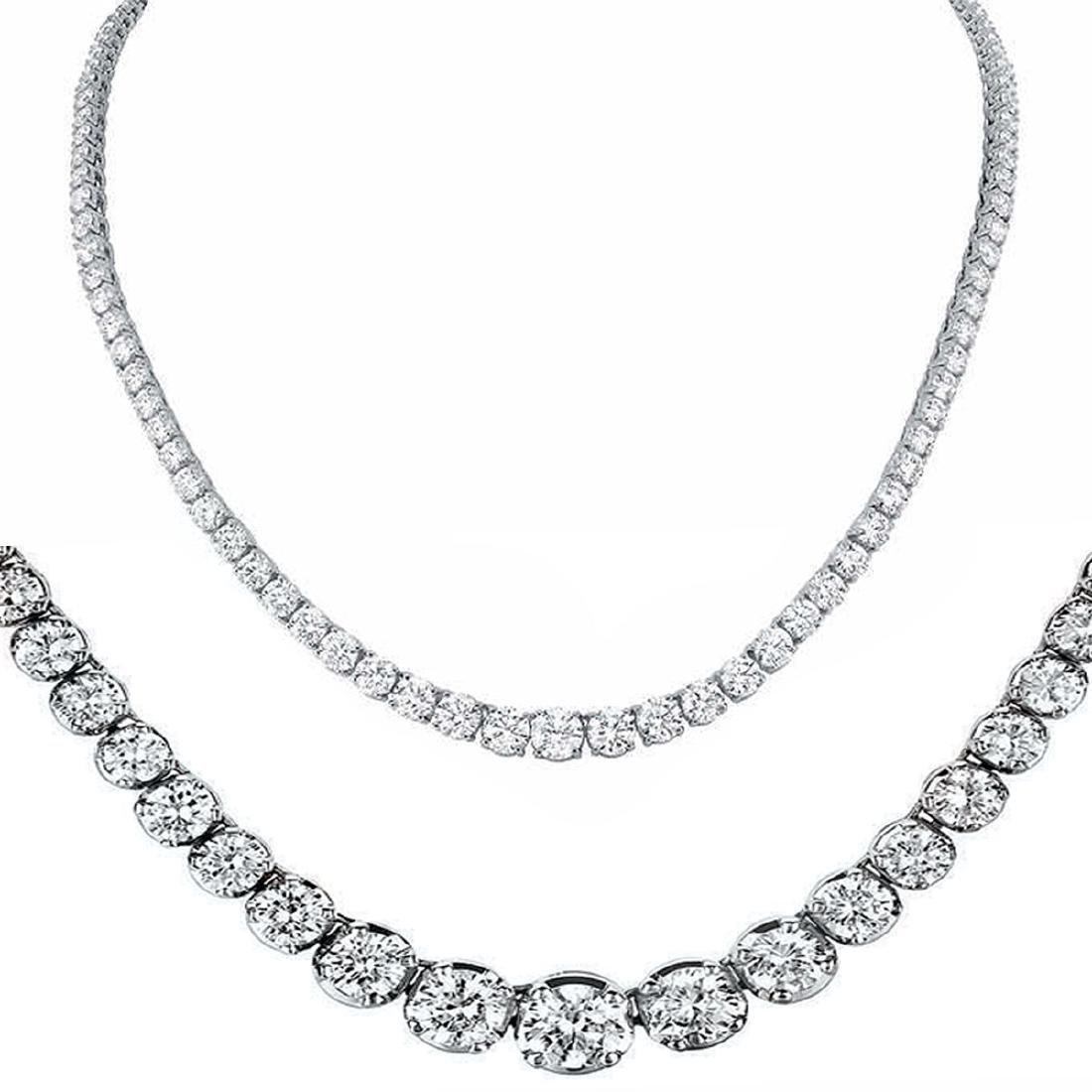 Natural 11.22CTW VS/I Diamond Tennis Necklace 18K White