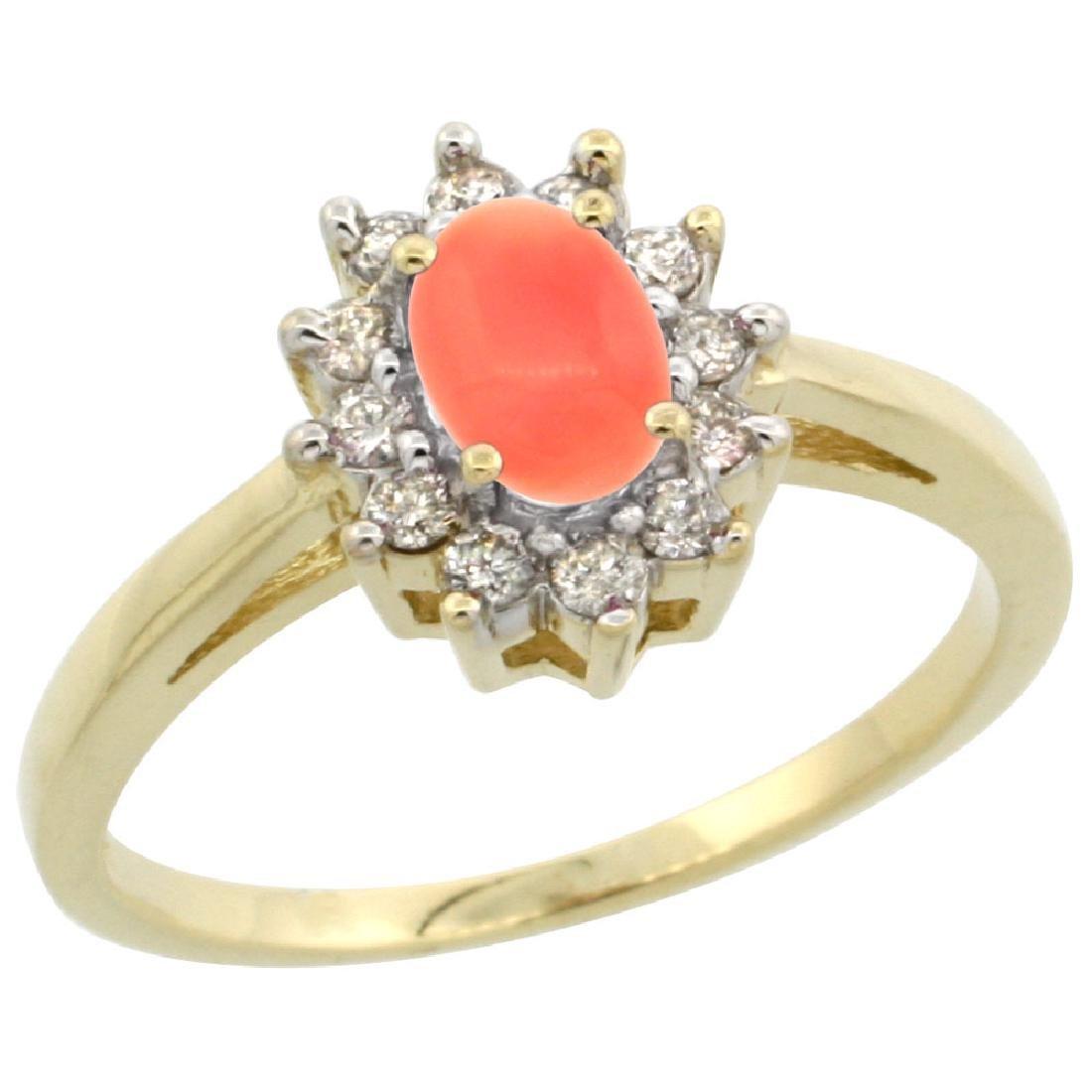 Natural 0.67 ctw Coral & Diamond Engagement Ring 14K